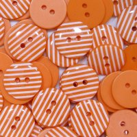 Pack of 10 - 15mm Stripe Buttons - Orange