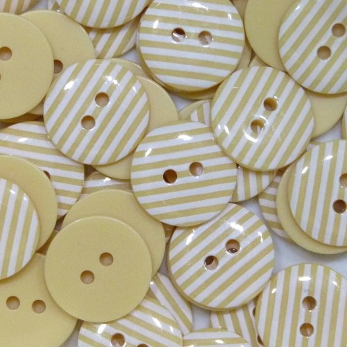 15mm Stripe Buttons - Pale Yellow