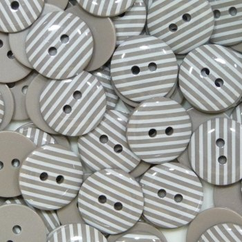 Pack of 10 - 15mm Stripe Buttons - Taupe