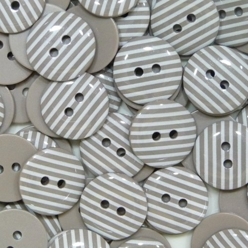 15mm Stripe Buttons - Taupe