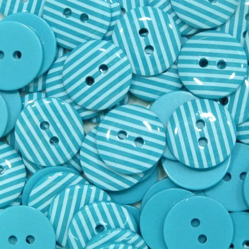 15mm Stripe Buttons - Turquoise