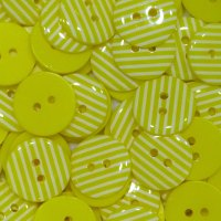 Pack of 10 - 15mm Stripe Buttons - Yellow