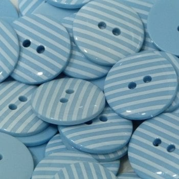 Pack of 10 - 18mm Stripe Button - Light Blue