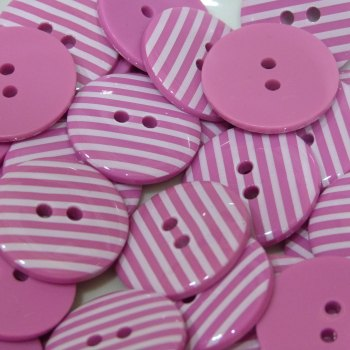 Pack of 10 - 18mm Stripe Button - Bright Pink