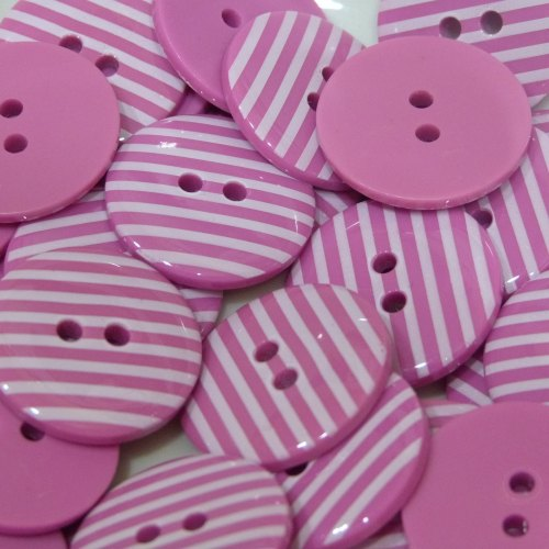 18mm Stripe Button - Bright Pink