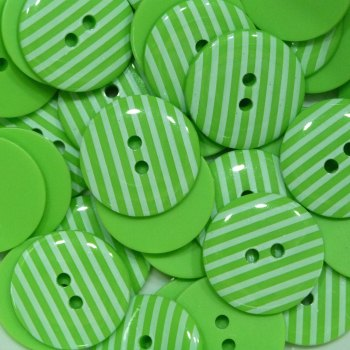 Pack of 10 - 18mm Stripe Button - Lime Green