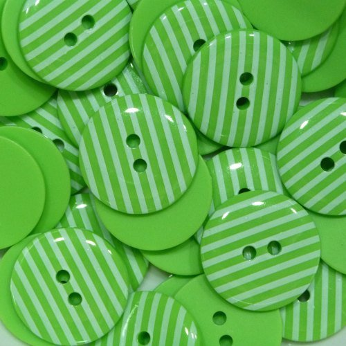 18mm Stripe Button - Lime Green