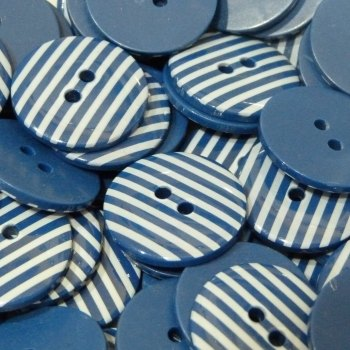 Pack of 10 - 18mm Stripe Button - Navy Blue