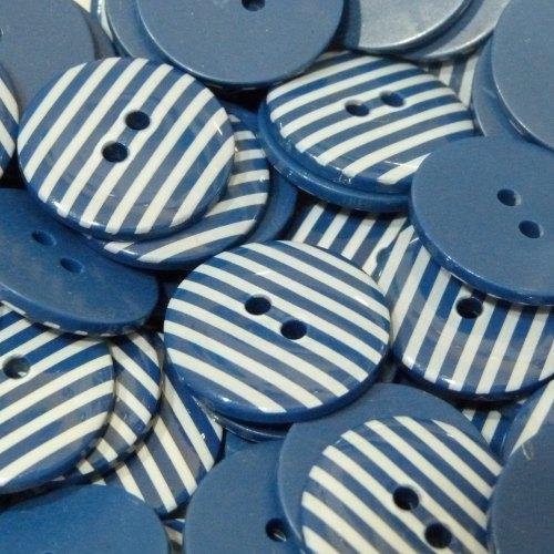 18mm Stripe Button - Navy Blue