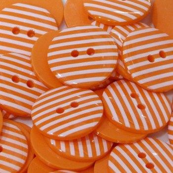 Pack of 10 - 18mm Stripe Button - Orange