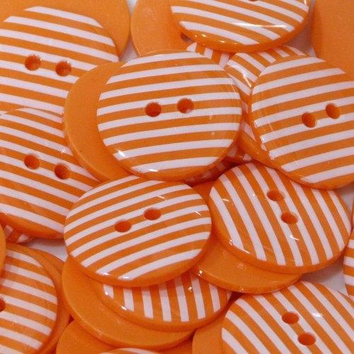 18mm Stripe Button - Orange