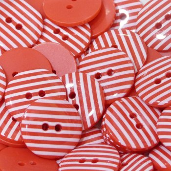 Pack of 10 - 18mm Stripe Button - Red