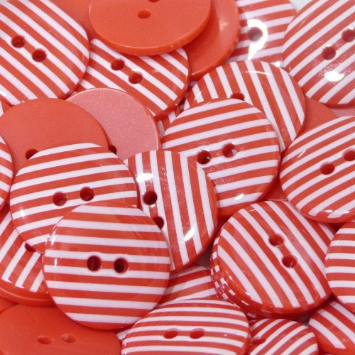18mm Stripe Button - Red