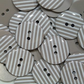 Pack of 10 - 18mm Stripe Button - Taupe