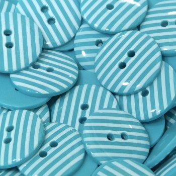 Pack of 10 - 18mm Stripe Button - Turquoise