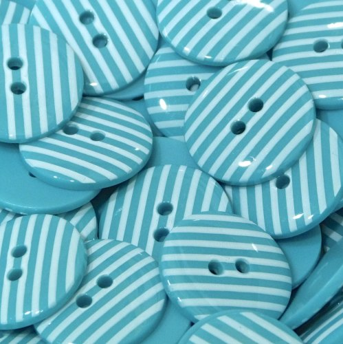18mm Stripe Button - Turquoise