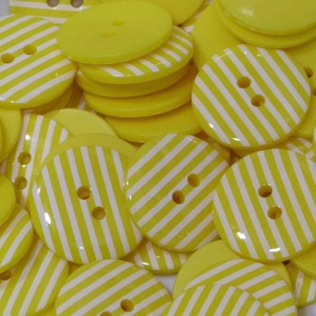Pack of 10 - 18mm Stripe Button - Yellow