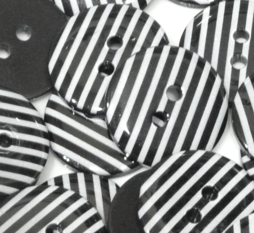 23mm Stripe Button - Black