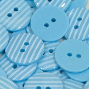 Pack of 5 - 23mm Stripe Button - Light Blue