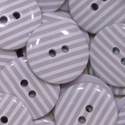 23mm Stripe Button - Lilac