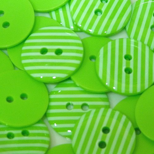 23mm Stripe Button - Lime Green