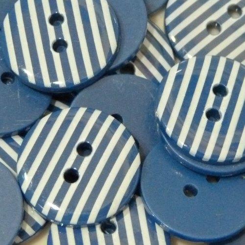 23mm Stripe Button - Navy Blue