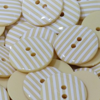 Pack of 5 - 23mm Stripe Button - Pale Yellow