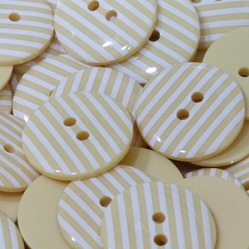 23mm Stripe Button - Pale Yellow