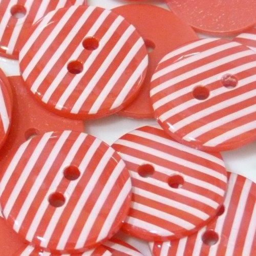 23mm Stripe Button - Red