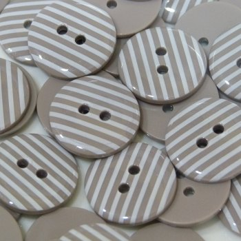 Pack of 5 - 23mm Stripe Button - Taupe