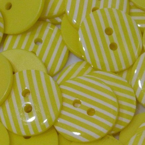 23mm Stripe Button - Yellow