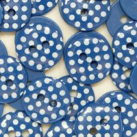 Pack of 10 - 12mm Polka Dot Buttons - Navy Blue