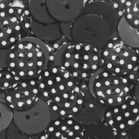 Pack of 10 - 15mm Polka Dot Button - Black