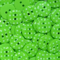 Pack of 10 - 15mm Polka Dot Button - Lime Green
