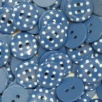 Pack of 10 - 15mm Polka Dot Button - Navy Blue