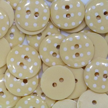 Pack of 10 - 15mm Polka Dot Button - Pale Yellow