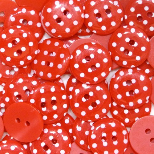 15mm Polka Dot Button - Red