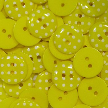 Pack of 10 - 15mm Polka Dot Button - Yellow