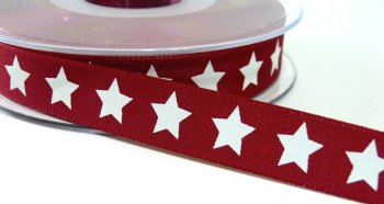 15mm Star Ribbon - Red