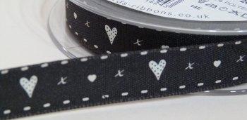 15mm Hearts & Kisses Ribbon - Black