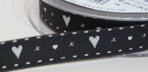 15mm Hearts & Kisses Ribbon - Black