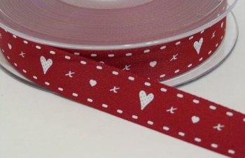 15mm Hearts & Kisses Ribbon - Red