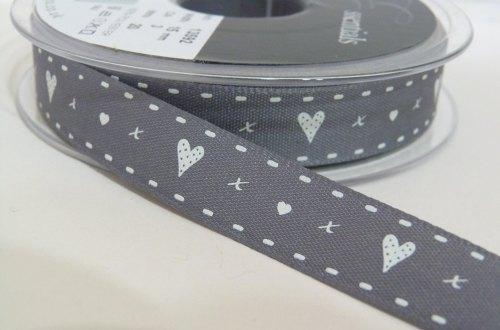 15mm Hearts & Kisses Ribbon - Charcoal