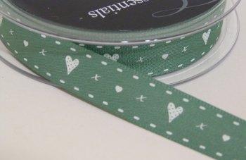 15mm Hearts & Kisses Ribbon - Sage Green