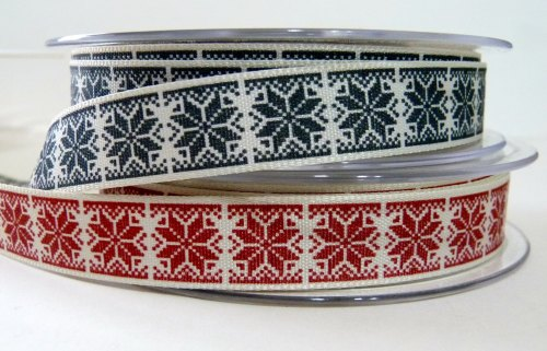 15mm Nordic Snowflake Ribbon - Charcoal