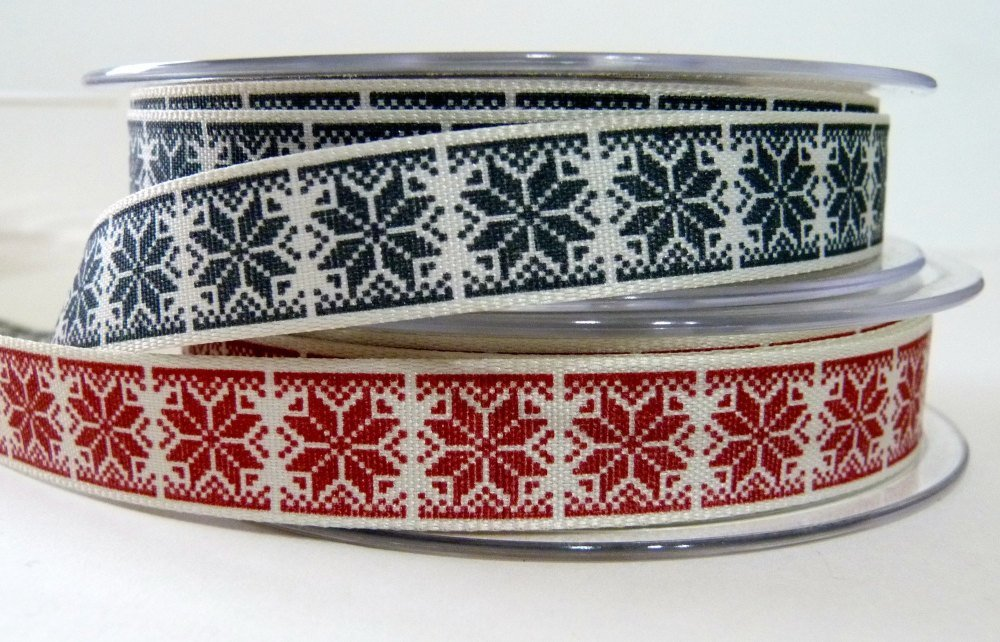 15mm Nordic Snowflake Ribbon - Red