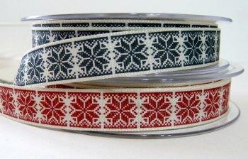 15mm Nordic Snowflake Ribbon - Red