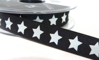 15mm Star Ribbon - Black