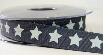 15mm Star Ribbon - Charcoal