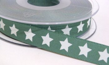 15mm Star Ribbon - Sage Green